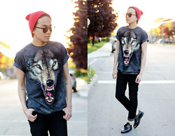 Marc Bueno - Thrifted Beanie, Lespecs Shades, The Mountain Wolf Shirt, Levi's® Jeans, Unif Grim Creepers - Sad Fuzz