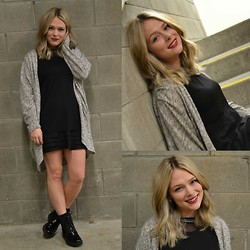 Samantha McLean - Glassons Cardi, Sheer Shirt, Patent Booties - Short Hair Don't Care