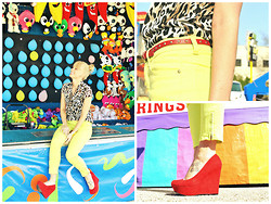 "Signe Savant - Forever 21 Chiffon Cheetah Top, ""C"" Lime Green Skimmer Pants, Charlotte Russe Red Wedges - Always buzzing just like neon, neon..."