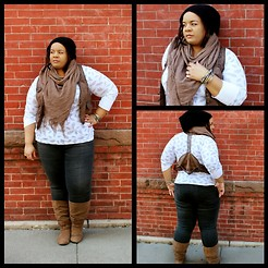 Jamila Pierre - Forever 21 Grey Skinnies, Walmart Bishes Feather Printed Top, Forever 21 Tall Tan Boots, Rainbow Brown Leatherette Vest - Light As A Feather Stiff As A Board.