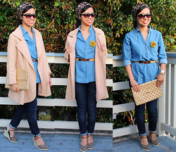 Victoria Lau - Old Navy Chambray Shirt, William Rast Dark Denim Skinnies, Unisa Leopard Espadrilles, Lord & Taylor Peach Car Coat, Vintage Straw Envelope Clutch - Chic Chambray