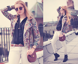Jessie Jensen - Free People Floral Jacket, American Apparel Silk Button Up, Bdg Light Denim, American Apparel Brown Purse, Lucky Brand Black Buckle Boots - Slow Spring