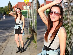 Ula H - H&M Skirt, H&M Top, Zara Shirt, Calvin Klein Sunglasses, Ovye Boots - Love is hard - new tats