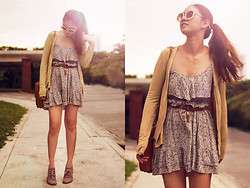 Aileen Belmonte - Floral Dress, Romwe Round Sunnies, So Fab Suede Booties - Lazy Daisy