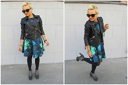 Mari Lex - Mango Black Leather Jacket, Concept Club Sunglasses, Concept Club Dress, Jeffrey Campbell Ankle Boots - Grease