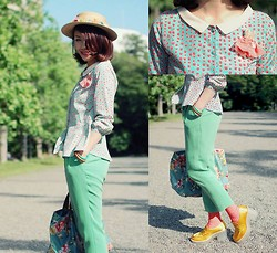 Shan Shan - Beams Blouse, Enfold Pans, Acne Studios Shoes - Say hi to pastel