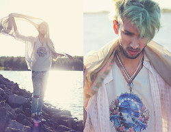 Bobby Raffin - Emelia's Closet Tie Dye Silk Shawl, Earthshine Pyramid Crystal Quartz Necklace, Earthshine Yin Yang Crystal Quartz Necklace, Earthshine Dolphin Friend Necklace, Gypsy Sale Dolphin Graphic Tank, Unif Holographic Platforms - The wind and the waves.