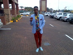Gape Ntsoelengoe - Polo Ralph Lauren Blue Blazer - Plain 2 colours mixed with print..