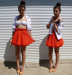 Marina Petrova - Jones And Orange Skirt, Evileye Denim White Shirt, H&M Swimsuit, Shoeaquarium Heels - Orange