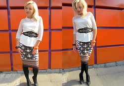 Mari Lex - Mango Blouse, Oggi Belt, River Island Skirt - Work