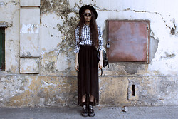 Vu Thien - Thrift Store Shirt, Diy Sheer Long Skirt, Dr. Martens Aggy Boots, Local Store Sunglasses - FLANNEL