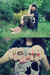 Katy Mage - Estarer Poker Double Ring, Persun Sneakers, Choies T Shirt, Alice Of Oz Spike Ring, Cnsfashion Claw Ring - Skull and Rose