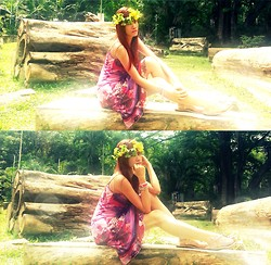 R.A. Basilan - Diy Flower Crown, Sinequanone Dress, Ai Fash Arm Candies, Random Sandals - 1st Blog Birthday; I believe in Magic