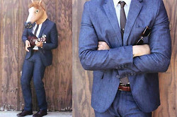 Stumbled Upon Easy - H&M Suit, Thrifted Tie, Thrifted Shirt, Thrifted Belt, Thrifted Shoes, Ray Ban Sunglasses - Fancy free.