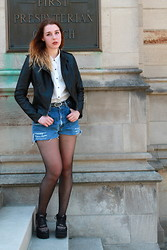 Lauren S. - Express Leather Jacket, Forever 21 Collared Top, Urban Outfitters Jean Shorts, Topshop Flatforms - Carried Away