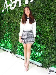 Louise Buenaobra - Sm Accessories Bowtie, H&M White Button Down, H&M Printed Shorts, Mango Studded Clutch, Zara Peeptoe Pumps - A Tribute to Carrie