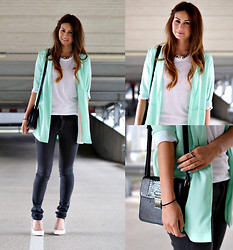 Larissa Verbon - Asos Chain Necklace, American Apparel Tshirt, C&A Blazer, Supertrash Bag, H&M Jeans, Supertrash Heels, We Cross Ring, Knuckle Rings, Infinity Bracelet - Minty & Fresh