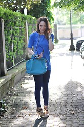 Melissa Cabrini - Roccobarocco Dress, Silvian Heach Trousers, Miu Shoes, Prada Bag, Gucci Sunglasses - In Blue We Trust