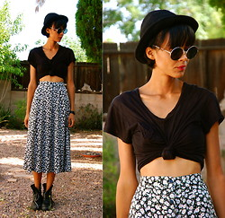 Luna Nova - Thrifted Black Hat, H&M Round Sunnies, Thrifted Black Cotton Shirt, Thrifted High Waist Floral Skirt, Vintage Lace Up Boots - I'm a Bitch, I'm a Lover