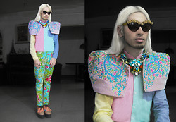 Andre Judd - Lesmoda Floral Embellished Cats Eye Frames, Ken Samudio S/S 2013 Layered Crystal Neckpieces, Tammie Figueroa Embroidered Pastel Couture Shoulder Piece, Pastel Colored Resort Trousers, Pastel Colored Golf Creepers With Oversized Ghillie - SECRET GARDEN