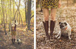 Fox Fräzier - Brüder Dobesch Mountain Fedora, Cevy's Leather Vest, Forever 21 Curtain Skirt, Goodyear Leather Boots, Pug Katey - Follow Your Nose and Go Explore.