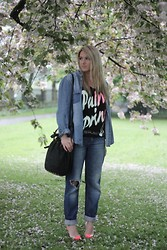 EMILIE HIGLE - Zara Denim Shirt, Topshop Boyfriend Jeans, Alexander Wang Bag, H&M Tank Top, Christian Louboutin Heels - DENIM ON DENIM