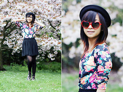 Bernadeth G. - Zerouv Heart Shaped Sunglasss, Primark Floral Blouse, Madlady Tulle Skirt, Ebay Bowler Hat, Primark Floral Boots - I don't know about you... but I'm feeling 22!