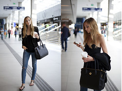 Jess A. - Tous Bag, Gioseppo Sandals, Zara Top, Yves Saint Laurent Blazer, H&M Skinnies - AIRPORT LIFE