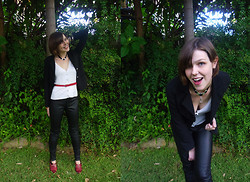 Jackie B - Happyillusion Black Blazer, Tokito Cardigan, Sportsgirl Fake Leather Pants - I wanna hold you in the morning, hold you through the night
