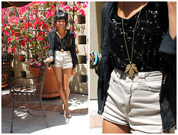 Sneha Bee - Goodwill Velvet Embroidered Top, American Apparel High Waisted Shorts, Handmade Leaf Necklace, Cotton On Nude Sandals, Crossroads Trading Co Sheer Top - Some love for these clowns