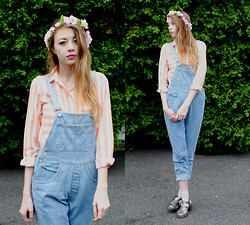 Megan Brigance - Shirt, Thrifted Overalls, Juju Jelly Shoes - 90's kind of day