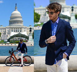 Adam Gallagher - Similar Here  > Blazer, Hugh And Crye Shirt, Similar Here  > Off White Trousers, Giorgio Brutini Oxfords - Galla takes DC 2
