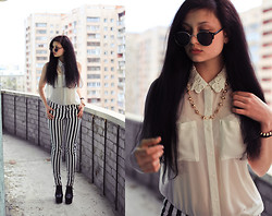 Vitaliya Nadezhdina - H&M Blouse With Lacy Collar, H&M B&W Stripy Pants, Jeffrey Campbell Lita Boots, Asos Sunnies, Mango Spiky Chain - Dear, look down your nose at these people