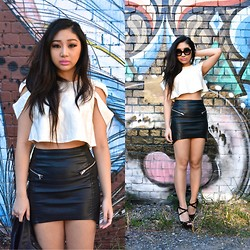 Kiki Nicole Suen - Sabo Skirt Crop Top, H&M Leather Skirt, Lowrys Farm Leather Jacket, Forever 21 Wedges - Wrap me up with your skins