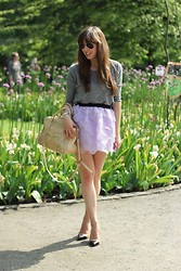 Kim S. - Choies Petal Skirt, Rebecca Minkoff Bag, Topshop Grey Top, Ray Ban Aviators, Zara Two Tone Heels - Petal Skirt
