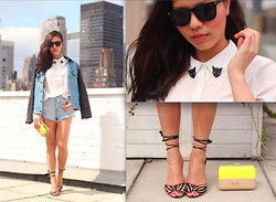 Leah Ho - Detail On Blog Cat Collar Pin, Detail On Blog Clutch, Manolo Blahnik Strappy Sandals, Detail On Blog Denim Jacket - DENIM ON DENIM