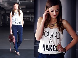 Katarzyna Tarach - Naked Noyz T Shirt, Reserved Pants, Chicnova Briefcase, Sh + Diy Vest, Stradivarius Ballerinas - Young & Naked