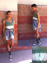 ♡Austin Smith♡ - Nike Dri Fit Socks, Converse Black High Tops, Forever 21 Stone Arrow Necklace, Arizona Bleached Swamp Green Tank Top, American Living Thin Flannel, Levi's® Dip Dyed Ombre Shorts - Bleached