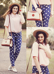 Carly Maddox - Vintage Blouse, Forever 21 Polka Dot Pants, Thrifted Cut Out Oxfords - Color of Moonlight