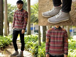 Stephen Garcia - Kickers Boots, Folded And Hung Sweater, Topman American Flag Socks - Cross Layer