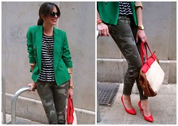 Rebeca LookForTime - Stradivarius Bag, Zara Jeans, Zara Blazer - Mix of prints