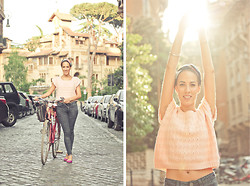 Melissa Varela - Vintage Top, Primark Skinny Jeans, Zara Block Color Flats - By bike