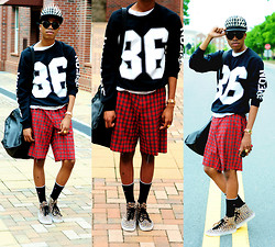 Dominic Grizzelle - Thrift Diy Plaid Shorts, Vans Leopard Authentic Hi, Vintage Stereon Sweater, Os Accessories Over Bite Cap - Shout out to triple 6