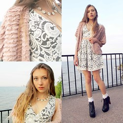 Katherine B - Jeffrey Campbell Vita (Lita Vegan Version), American Apparel Girly Lace Ankle Sock, Vintage Floral Necklace, Monteau Lace Overlay Dress, Forever 21 Faux Fur Shrug - Lace, lake + luxury