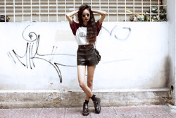 Vu Thien - Thrift Store Tee, Thrift Store Leather Shorts, Dr. Martens Aggy Boots - CHICAGO