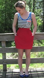 Alison Esther - American Apparel Red Skirt, Gap Striped Pocket Tank, Bcbg Royal Blue Flats - 5/22/13