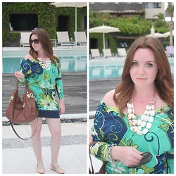 Ruby Girl - Muse Garden Party Blouson - Poolside in Blues & Greens