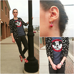 Pauline - Old Navy Mickey Mouse Tee, Polka Dot Blazer, Steve Madden Studded Red Sandals, Mushroom Earrings - Hey Mickey!