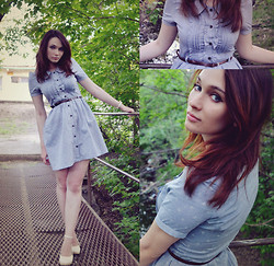 Natalie Believe - Jeans Shop Anchor Print Dress, Nyantet White Shoes - Anchor print