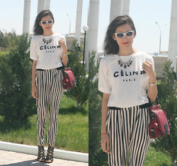 Aigyz Rebelle - Glasses Cat Eye, Céline Celine Shirt, Zara Stripe Pants, Noname Heels - Lovely Celine